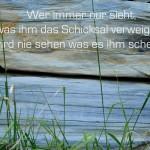 Struktur im Stein mit dem Spruch: Wer immer nur sieht, was ihm das Schicksal verweigert, wird nie sehen was es ihm schenkt.