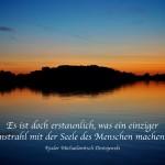 Sonnenuntergang im Havelland mit dem Dostojewski Zitat: Es ist doch erstaunlich, was ein einziger Sonnenstrahl mit der Seele des Menschen machen kann. Fjodor Michailowitsch Dostojewski