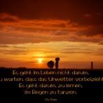 Unwetter auf dem Teufelsberg in Berlin mit dem Ziglar Zitat: Es geht im Leben nicht darum, zu warten, dass das Unwetter vorbeizieht. Es geht darum, zu lernen, im Regen zu tanzen. Zig Ziglar