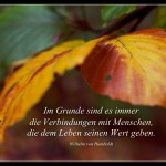 Herbstlaub mit dem Humboldt Zitat: Im Grunde sind es immer die Verbindungen mit Menschen, die dem Leben seinen Wert geben. Wilhelm von Humboldt