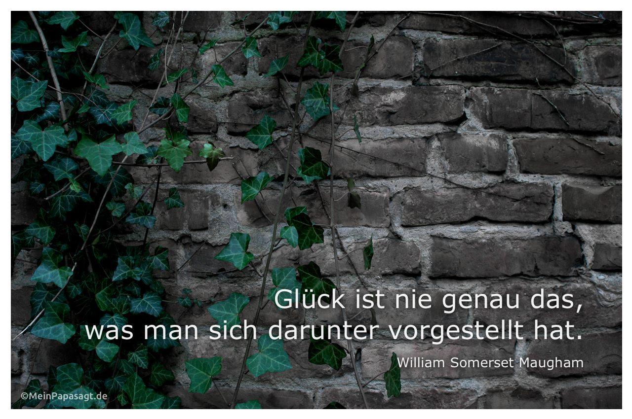 Efeu wächst an einer Mauer mit dem Somerset Maugham Zitat: Glück ist nie genau das, was man sich darunter vorgestellt hat. William Somerset Maugham