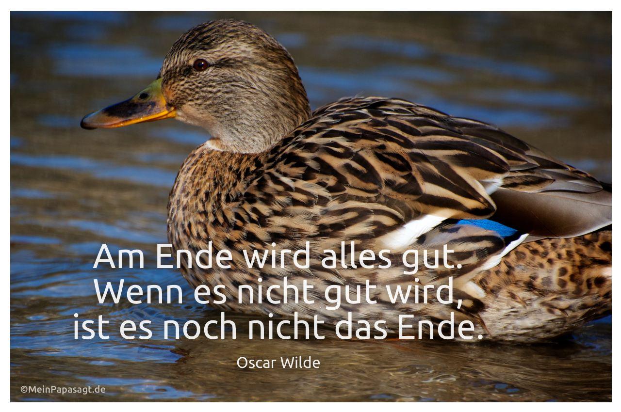 Stockente mit dem Zitat: Am Ende wird alles gut. Wenn es nicht gut wird, ist es noch nicht das Ende. Oscar Wilde