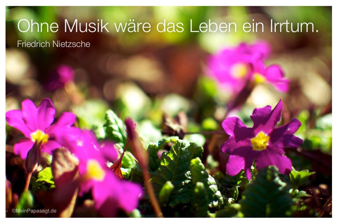 Blumen mit dem Friedrich Nietzsche Zitat: Ohne Musik wäre das Leben ein Irrtum. Friedrich Nietzsche