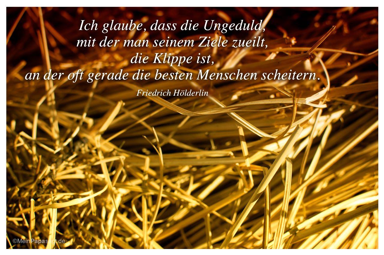 Stroh mit Mein Papa sagt Hölderlin Zitate Bilder: Ich glaube, dass die Ungeduld, mit der man seinem Ziele zueilt, die Klippe ist, an der oft gerade die besten Menschen scheitern. Friedrich Hölderlin