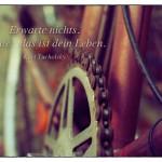 Altes Fahrrad mit dem Kurt Tucholsky Zitat: Erwarte nichts. Heute: das ist dein Leben. Kurt Tucholsky