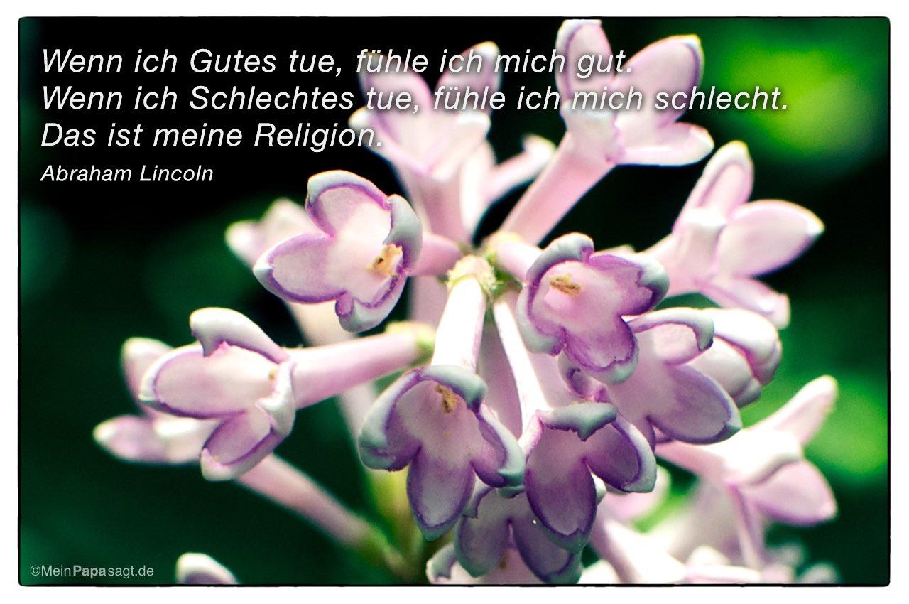 Blume mit dem Abraham Lincoln Zitat: Wenn ich Gutes tue, fühle ich mich gut. Wenn ich Schlechtes tue, fühle ich mich schlecht. Das ist meine Religion. Abraham Lincoln