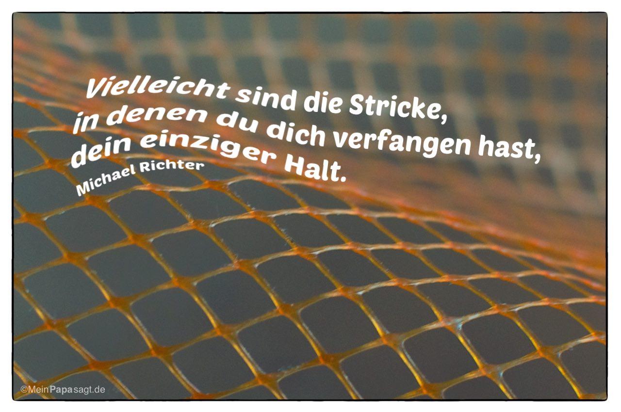 Netz mit dem Michael Richter Zitat: Vielleicht sind die Stricke, in denen du dich verfangen hast, dein einziger Halt. Michael Richter