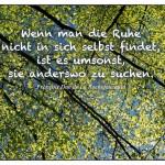 Frühlingsblattwerk mit dem François Duc de La Rochefoucauld Zitat: Wenn man die Ruhe nicht in sich selbst findet, ist es umsonst, sie anderswo zu suchen. François Duc de La Rochefoucauld