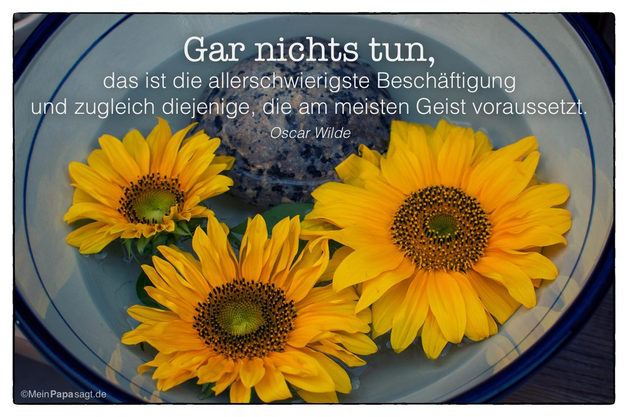 Sonnenblumen mit dem Oscar Wilde Zitat: Gar nichts tun, das ist die allerschwierigste Beschäftigung und zugleich diejenige, die am meisten Geist voraussetzt. Oscar Wilde