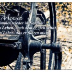 Alte Presse mit dem Mark Aurel Zitat: Der Mensch kommt immer wieder in Konflikt mit dem Leben, nach dem er sich sehnt, und dem Leben, das er führen muss. Mark Aurel