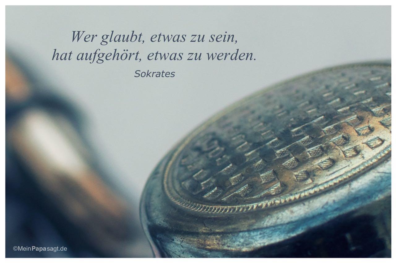 Fahrradklingel mit dem Sokrates Zitat: Wer glaubt, etwas zu sein, hat aufgehört, etwas zu werden. Sokrates