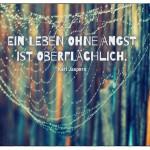 Spinnennetz mit dem Karl Jaspers Zitat: Ein Leben ohne Angst ist oberflächlich. Karl Jaspers