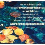 Laub auf Wasser mit dem Victor Hugo Zitat: Mir ist auf der Straße ein sehr armer junger Mann begegnet, der verliebt war. Sein Hut war alt, sein Mantel abgetragen, Wasser rann durch seine Schuhe. Aber Sterne zogen durch seine Seele. Victor Hugo