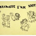 Graffiti mit tanzenden Affen und dem Spruch - Because i am happy