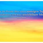 Digital verfärbter Himmel mit dem August Macke Zitat: In der Freude über einen sonnigen Tag materialisieren sich leise unsichtbare Ideen. August Macke