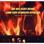 Kaminfeuer mit dem Augustinus Aurelius Zitat: Nur wer selbst brennt, kann Feuer in anderen entfachen. Augustinus Aurelius