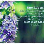 Blüte mit dem Erich Fried Zitat: Das Leben wäre vielleicht einfacher wenn ich dich gar nicht getroffen hätte. Es wäre nur nicht mein Leben. Erich Fried