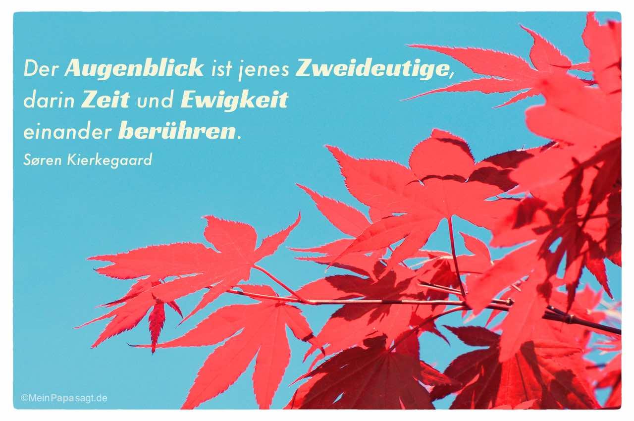 rote Ahorn Blätter mit dem Søren Kierkegaard Zitat: Der Augenblick ist jenes Zweideutige, darin Zeit und Ewigkeit einander berühren. Søren Kierkegaard