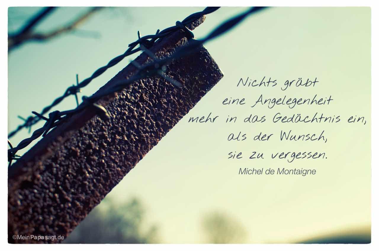 Stacheldrahtzaun mit dem Michel de Montaigne Zitat: Nichts gräbt eine Angelegenheit mehr in das Gedächtnis ein, als der Wunsch, sie zu vergessen. Michel de Montaigne