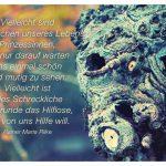 Baum-Gesicht mit dem Rilke Zitat: Vielleicht sind alle Drachen unseres Lebens Prinzessinnen, die nur darauf warten uns einmal schön und mutig zu sehen. Vielleicht ist alles Schreckliche im Grunde das Hilflose, das von uns Hilfe will. Rainer Maria Rilke