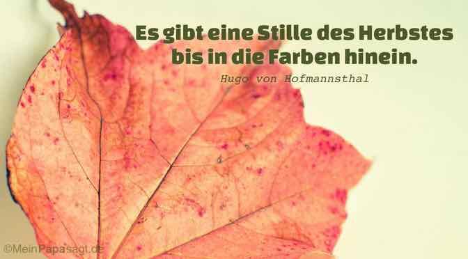 Es gibt eine Stille des Herbstes bis in die Farben hinein…