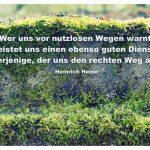 Moos bewachsener Stein mit dem Heine Zitat: Wer uns vor nutzlosen Wegen warnt, leistet uns einen ebenso guten Dienst, wie derjenige, der uns den rechten Weg anzeigt. Heinrich Heine