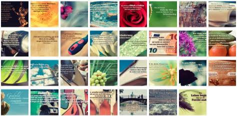 Übersichtsbild. Bilder Galerie mit Lebensweisheiten, Weisheiten, Zitate, Sprichwörter und Sprüche des Tages Januar 2017