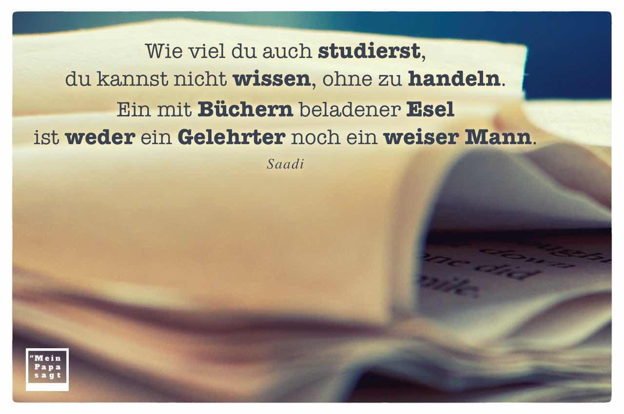 aufgeschlagenes Buch mit dem Saadi Zitat: Wie viel du auch studierst, du kannst nicht wissen, ohne zu handeln. Ein mit Büchern beladener Esel ist weder ein Gelehrter noch ein weiser Mann. Saadi