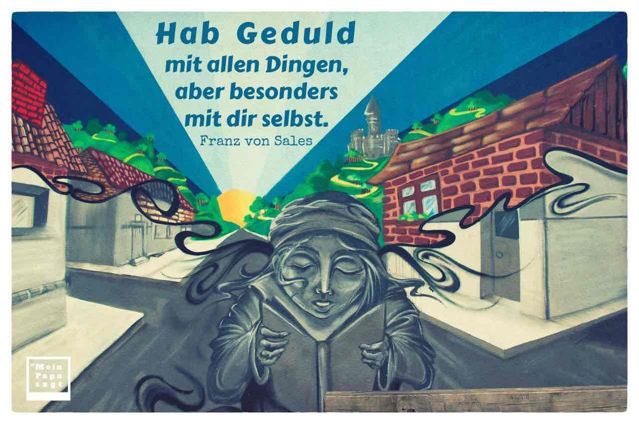 Graffiti mit Buch-Leserin und dem von Sales Zitat: Hab Geduld mit allen Dingen, aber besonders mit dir selbst. Franz von Sales