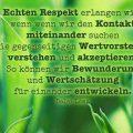 Echten Respekt erlangen wir, wenn wenn wir den Kontakt miteinander suchen...