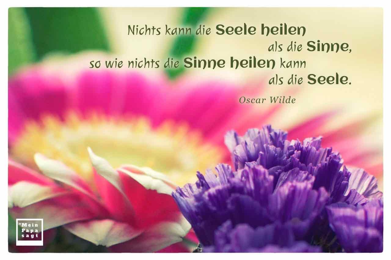 Gerbera mit dem Wilde Zitat: Nichts kann die Seele heilen als die Sinne, so wie nichts die Sinne heilen kann als die Seele. Oscar Wilde
