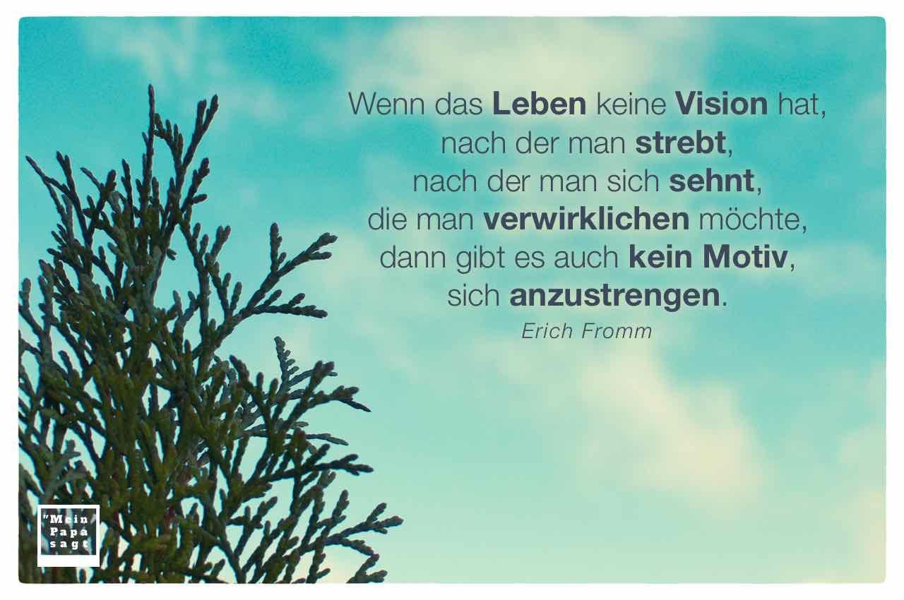 Tanne vor blauem Himmel mit dem Fromm Zitat: Wenn das Leben keine Vision hat, nach der man strebt, nach der man sich sehnt, die man verwirklichen möchte, dann gibt es auch kein Motiv, sich anzustrengen. Erich Fromm
