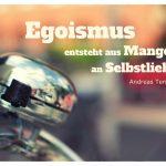 Fahrrad-Klingel mit dem Tenzer Zitat: Egoismus entsteht aus Mangel an Selbstliebe. Andreas Tenzer