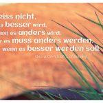 Gräser vor Holz mit dem Lichtenberg Zitat: Ich weiss nicht, ob es besser wird, wenn es anders wird. Aber es muss anders werden, wenn es besser werden soll. Georg Christoph Lichtenberg