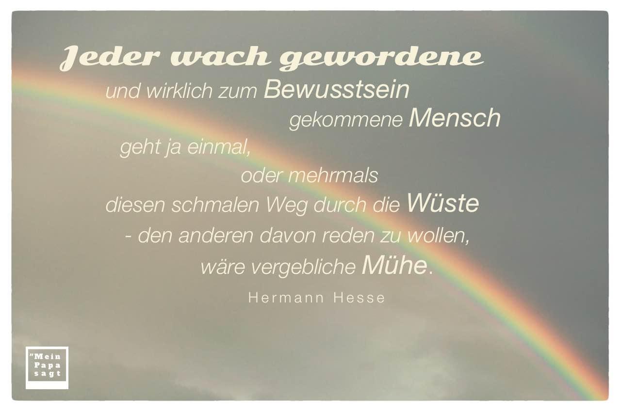 Regenbogen mit dem Hesse Zitat: Jeder wach gewordene und wirklich zum Bewusstsein gekommene Mensch geht ja einmal, oder mehrmals diesen schmalen Weg durch die Wüste - den anderen davon reden zu wollen, wäre vergebliche Mühe. Hermann Hesse