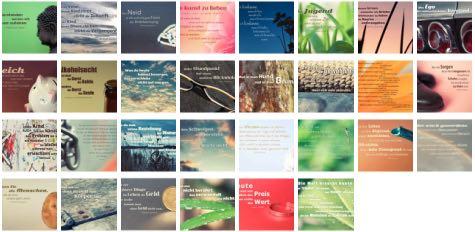 Übersichtsbild. Bilder Galerie mit Lebensweisheiten, Weisheiten, Zitate, Sprichwörter und Sprüche des Tages September 2017