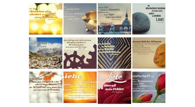 Übersichtsbild. Bilder Galerie mit Lebensweisheiten, Weisheiten, Zitate, Sprichwörter und Sprüche des Tages Februar 2018