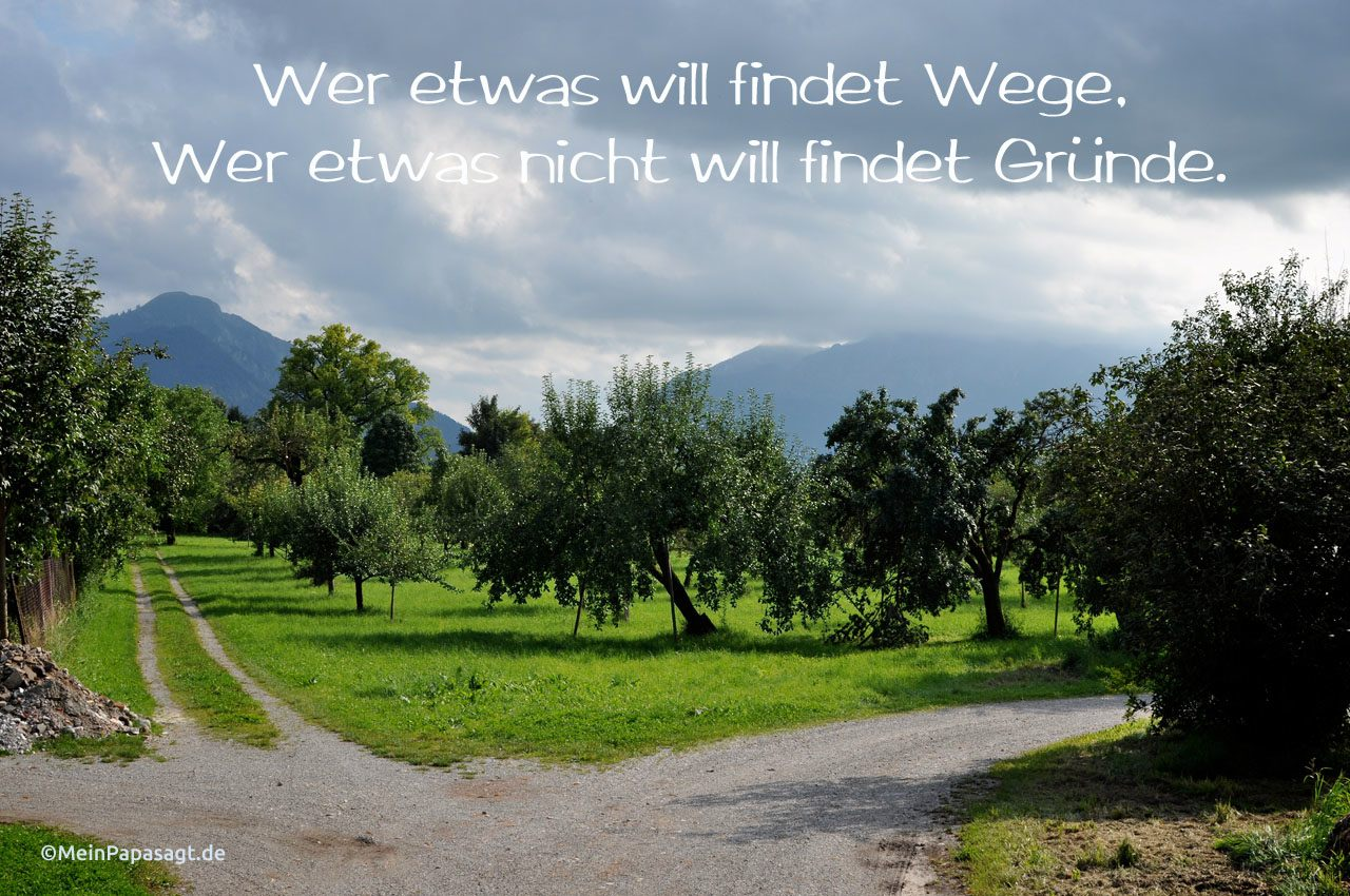 Weggabelung vor den Alpen mit dem Spruch: Wer etwas will findet Wege, Wer etwas nicht will findet Gründe.
