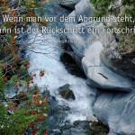 Schlucht mit Fluss in der Schweiz und dem Hundertwasser Zitat: Wenn man vor dem Abgrund steht, dann ist der Rückschritt ein Fortschritt. Friedensreich Hundertwasser