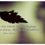 Blatt mit dem Zitat: Wer nie einen Fehler beging, hat nie etwas Neues ausprobiert. Albert Einstein