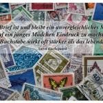 Briefmarken mit dem Zitat: Der Brief ist und bleibt ein unvergleichliches Mittel, auf ein junges Mädchen Eindruck zu machen; der tote Buchstabe wirkt oft stärker als das lebendige Wort. Søren Kierkegaard