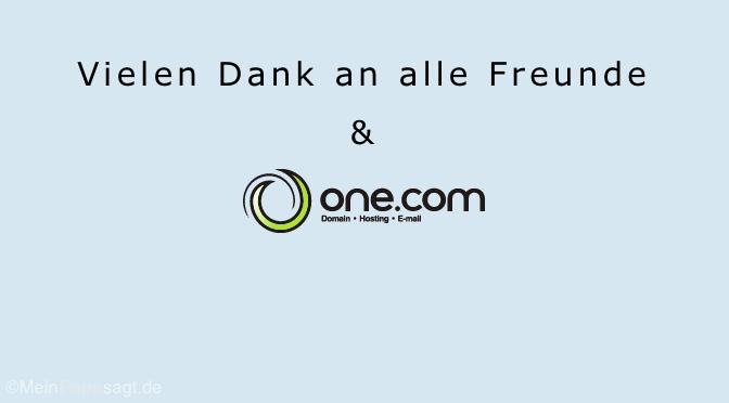Vielen Dank an Freunde, Verwandte & one.com