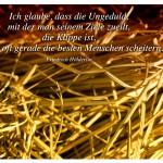 Stroh mit dem Zitat: Ich glaube, dass die Ungeduld, mit der man seinem Ziele zueilt, die Klippe ist, an der oft gerade die besten Menschen scheitern. Friedrich Hölderlin