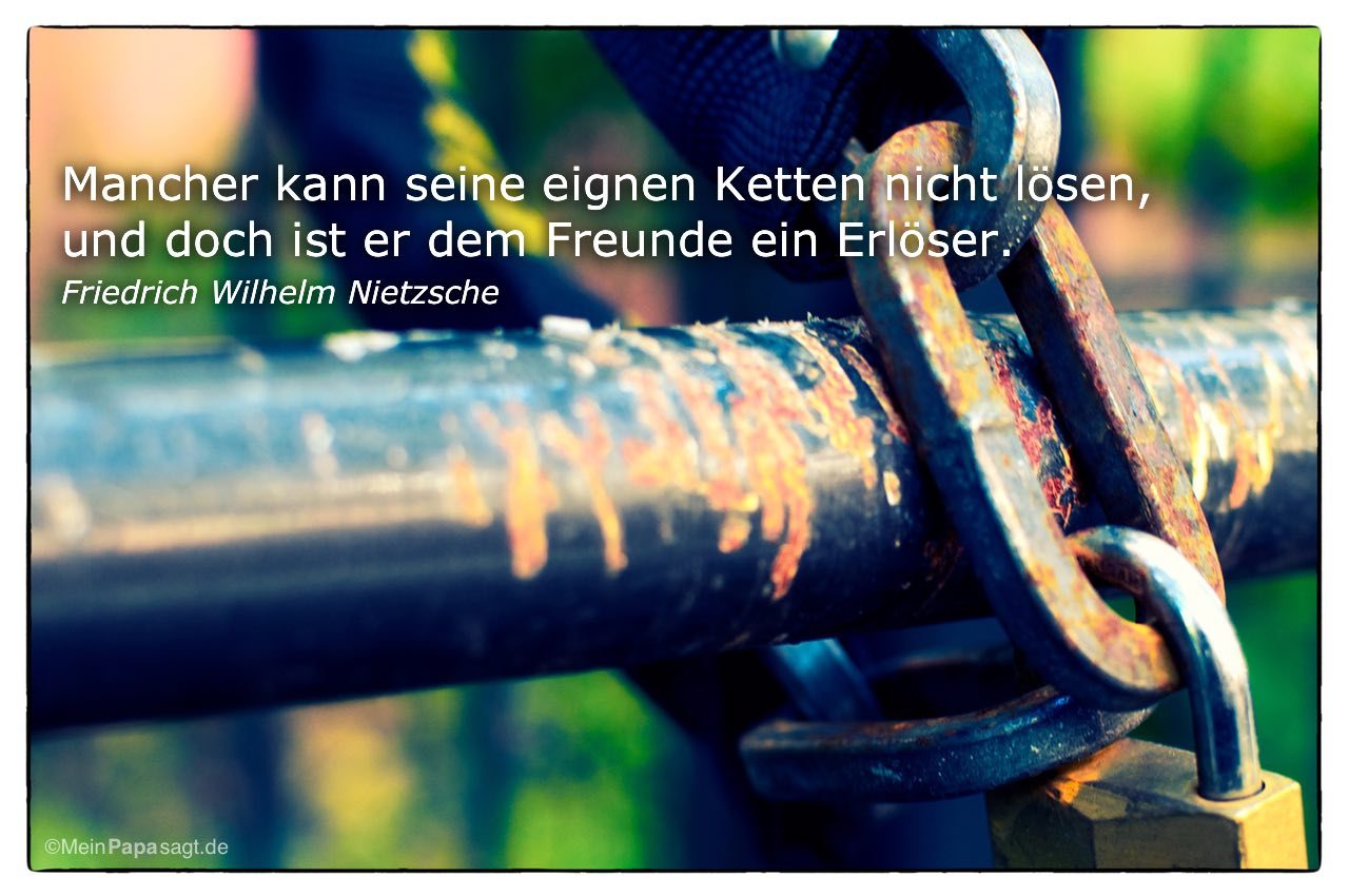 Kette mit dem Friedrich Wilhelm Nietzsche Zitat: Mancher kann seine eignen Ketten nicht lösen, und doch ist er dem Freunde ein Erlöser. Friedrich Wilhelm Nietzsche