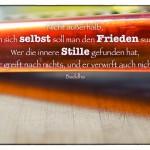 Küchenreibe mit der Buddha Weisheit: Nicht außerhalb, nur in sich selbst soll man den Frieden suchen. Wer die innere Stille gefunden hat, der greift nach nichts, und er verwirft auch nichts. Buddha