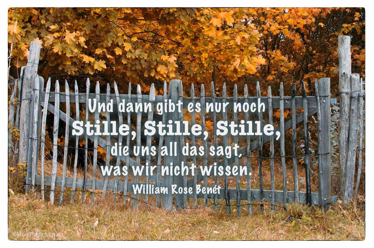 Weidezaun mit dem William Rose Benét Zitat: Und dann gibt es nur noch Stille, Stille, Stille, die uns all das sagt, was wir nicht wissen. William Rose Benét