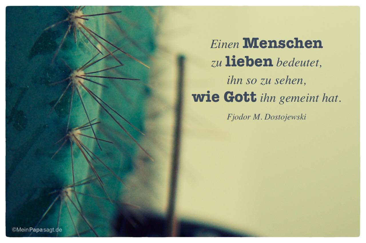 Kaktus mit dem Fjodor M. Dostojewski Zitat: Einen Menschen zu lieben bedeutet, ihn so zu sehen, wie Gott ihn gemeint hat. Fjodor M. Dostojewski