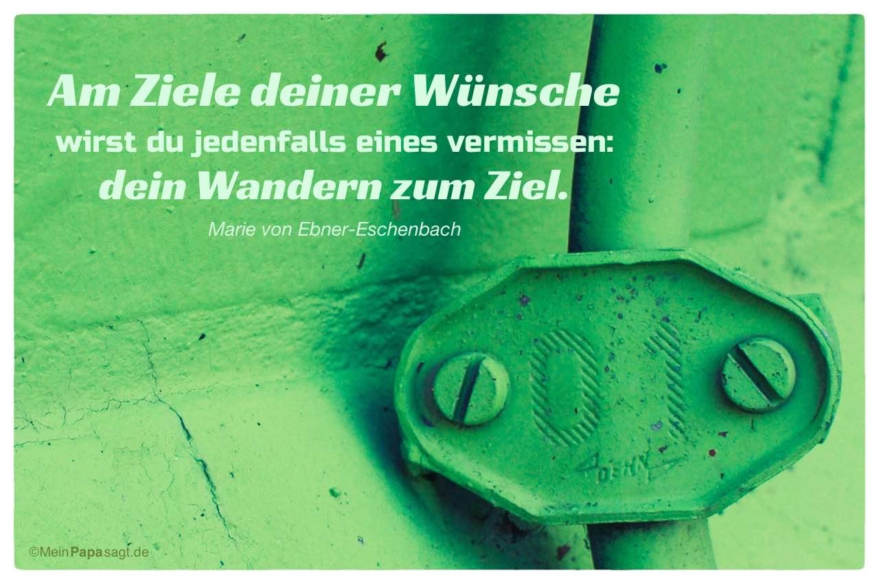 Wand mit Kabelschelle und dem Marie von Ebner-Eschenbach Zitat: Am Ziele deiner Wünsche wirst du jedenfalls eines vermissen: dein Wandern zum Ziel. Marie von Ebner-Eschenbach