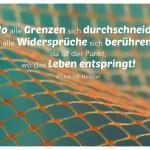 Netz mit dem Friedrich Hebbel Zitat: Wo alle Grenzen sich durchschneiden, alle Widersprüche sich berühren, da ist der Punkt, wo das Leben entspringt! Friedrich Hebbel