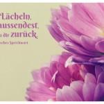 Blüten mit dem indischen Sprichwort: Das Lächeln, das du aussendest, kehrt zu dir zurück. Indisches Sprichwort